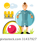 Vector Zorbing soccer. Bumper Ball 31437927