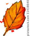 Watercolor Paint Of Autumn Leaf 31438640