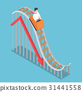 Businessman riding on Roller Coaster Falling Graph 31441558
