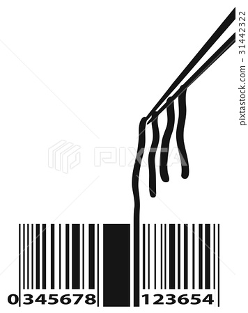 Noodle Barcode With Chopstick 31442322