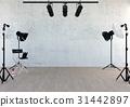 Studio equipment in studio room with empty space 31442897