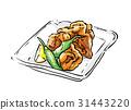 chicken karaage, fried food, deep fried 31443220