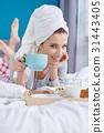 girl, towel, breakfast 31443405