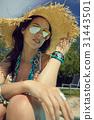 mattress, hat, sunbathing 31443501