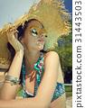 mattress, hat, sunbathing 31443503