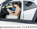 Cheerful male and outgoing lady in automobile 31444049