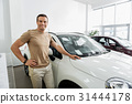 Mirthful man situating near new car 31444178
