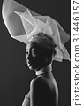 Beautiful african girl with veil hat 31446157