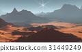 Sunset on Mars. Martian landscape. 3D illustration 31449249