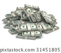 Dollar packs of banknotes heap isolated on white. 31451805
