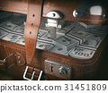 Vintage suitcase full of money. Business concept  31451809