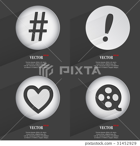 Set of 4 Flat Buttons. Icons with Shadows on Circu 31452929