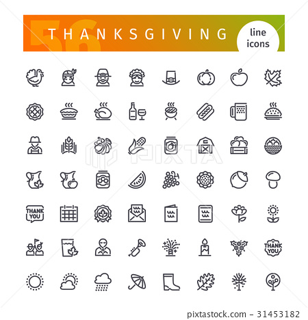 Thanksgiving Line Icons Set 31453182