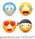Smiley,emoticons set. Yellow face with emotions 31453227