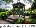 Beautiful metal gazebo under big tree in park 31453990