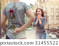 Young couple city walk date romantic gift 31455522