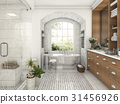 wood and tile design bathroom near window 31456926