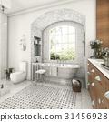 wood and tile design bathroom near window 31456928