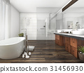 wood and tile design bathroom near window 31456930