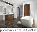 wood and tile design bathroom near window 31456931