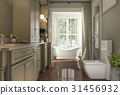 classic bathroom with wood floor and garden 31456932
