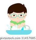 Cute boy washing hands vector. 31457685
