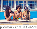 cheerful girls drinking cocktails in the pool 31458279