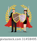 Man and woman with shield sword and golden wreath 31458495