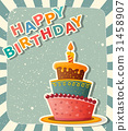 birthday card with cake 31458907