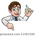 scientist, cartoon, sign 31461584
