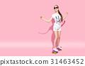 女孩 溜冰板 流行 31463452