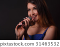 Portrait of girl with microphone 31463532
