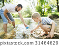 Young father with little boy at the river, sunny 31464629