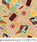 Seamless pattern with ice-cream, cakes, sweets 31465791