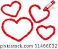 蠟筆手寫的心形框架3紅色 31466032