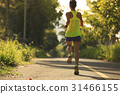 Young fitness woman running on forest trail 31466155