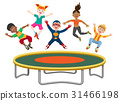 Energetic kids jumping on trampoline 31466198