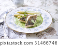 Zander Filet with White Asparagus on Plate 31466746