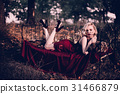 Beautiful and elegant blonde woman with red lips 31466879