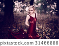 Beautiful and elegant blonde woman with red lips 31466888