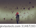 woman with red hair standing among birds 31467283