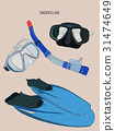 snorkeling equipment  , sketch vector 31474649