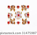Beautiful ornament of gemstone on white background 31475987