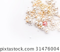 Pile of colorful pearl on white background 31476004