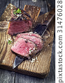 Barbecue Point Steak on old Chopping Board 31476028
