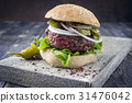 Barbecue Hamburger with Salad Leaf 31476042