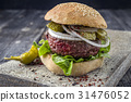 Barbecue Hamburger with Vegetable  31476052