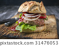Barbecue Hamburger with Vegetable and Chili Relish 31476053