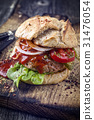Barbecue Hamburger with Vegetable and Chili Relish 31476054