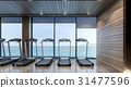 Gym with sea view , 3d rendering 31477596